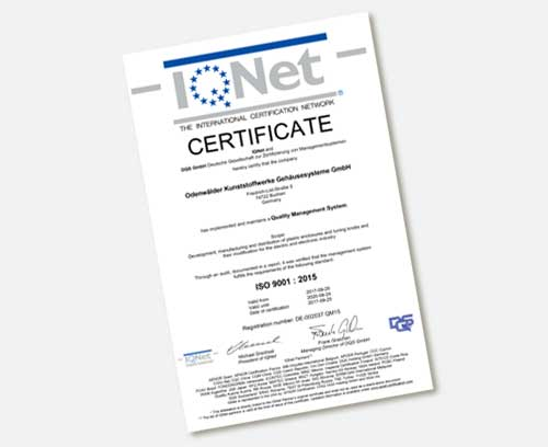 Certificate IQNet ISO 9001 : 2015
